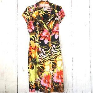 Cache Tropical Hawaiian Button-down Midi Dress